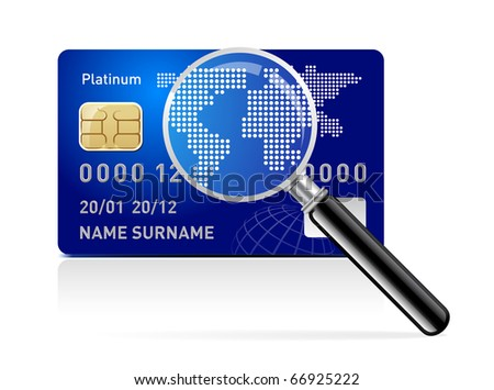 Vector credit card with magnifying glass