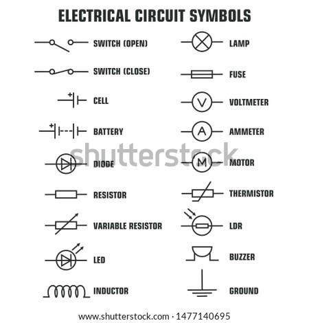 Vector Electronic circuit symbols icon. Image basic circuit symbols poster illustration