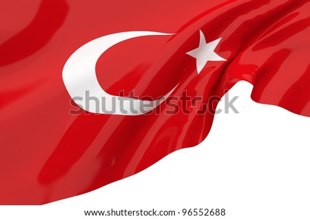 Vector Flags of Turkey - stock photo