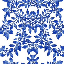 Vector floral watercolor texture pattern.Watercolor floral pattern.Blue flowers pattern.Seamless pattern can be used for wallpaper,pattern fills,web page background,surface textures