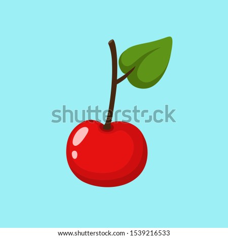 Vector Food icon cherry. Image cartoon berry cherry. Illustration sweet cherry in flat style