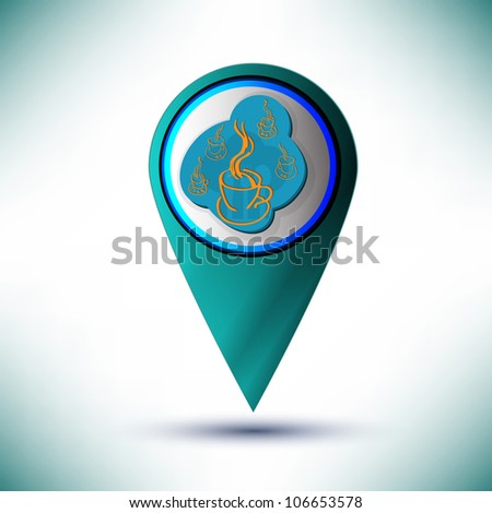 vector glossy coffe web icon design element on a blue background.