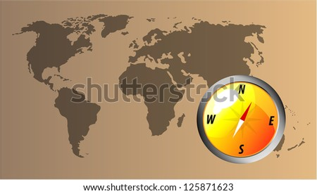 Vector glossy orange compass with map of the world.