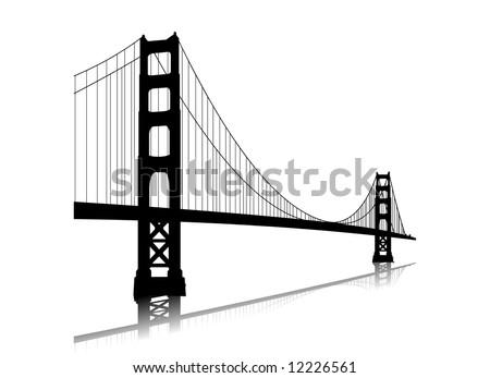 golden gate bridge drawing clip art. Vector golden gate bridge