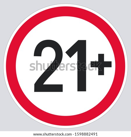 vector icon 21 age restriction sign. Image 21+ attention symbol. Illustration 21+ sign in flat style