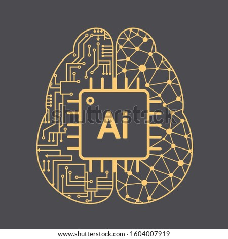 vector Icon brain neural networks artificial intelligence. Image microcircuit  brain with chip. Illustration Artifact intelligence brain processor in flat style