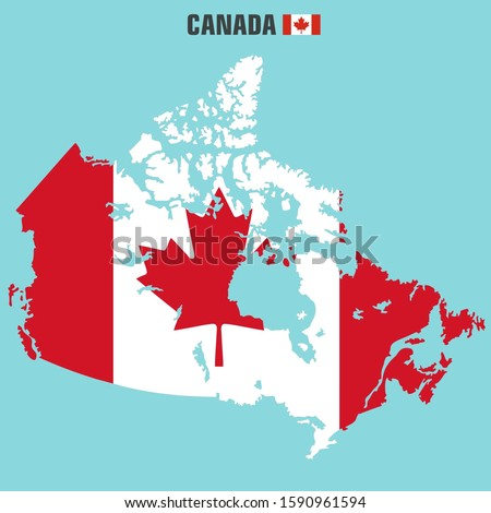 vector icon Canada flag map. Image Canada flag map. Illustration Canada map in flat style