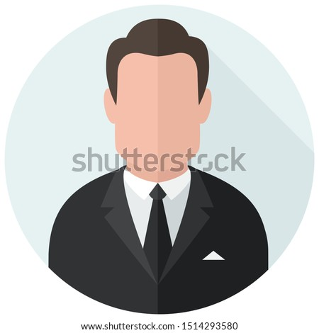 Vector Icon cartoon character Businessman avatar. Image avatar man in black suit. Illustration human Businessman avatar in flat design