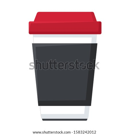 vector icon coffee cup. Image white cartoon paper coffee cup. Illustration cartoon coffee to go cup in flat style