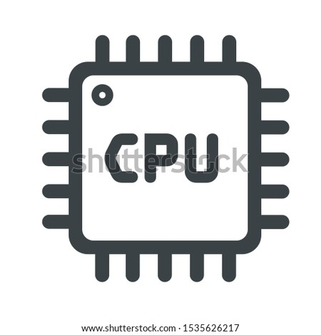 Vector Icon computer chip. Flat style Icon Computer processor with microcircuits (CPU). Illustration Computer electronic chip cpu processor