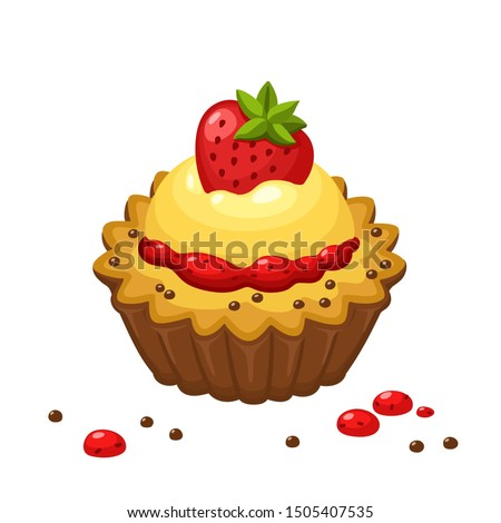 Vector icon cream cake with strawberries. Image cake cream basket with strawberries. Illustration cartoon dessert food cake in flat style