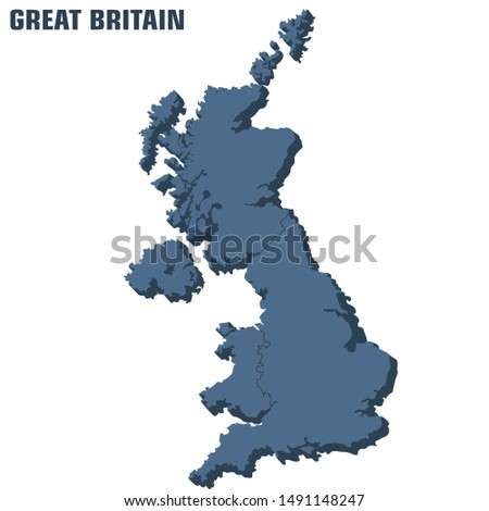Vector icon 3d united kingdom map. Image isometric Great Britain map. Illustration England map flag in flat style