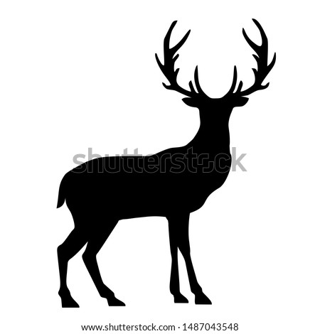 Vector Icon deer sign. Image deer symbol sticker. Illustration animal wild nature deer sign in flat style. Image deer silhouette sign