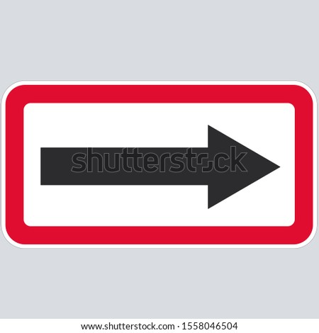 vector Icon direction arrow road sign. Illustration red  arrow sign symbol. Image traffic arrow sign in flat style