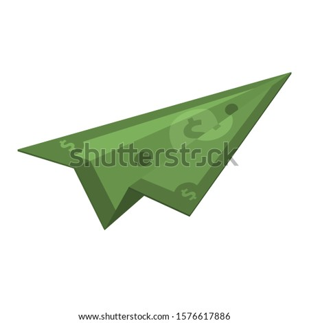vector icon dollar bill plane. Image money plane. Illustration cartoon dollar plane origami in flat style