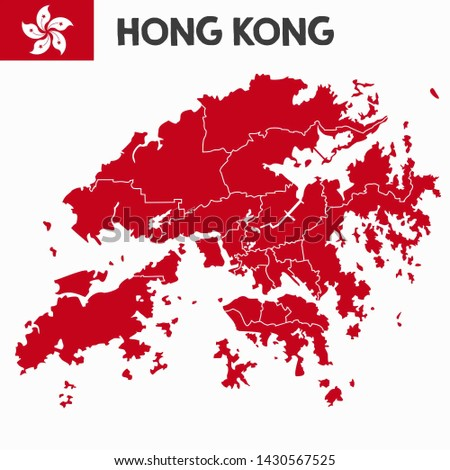 Vector icon flag map of Hong Kong. Image red Chinese flag map Hong Kong. Illustration of Hong Kong map in flat minimalism style.