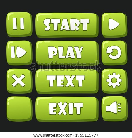 vector icon green buttons set. Stock  Image green button set for game: start, exit, play, restart, replay, close, pause, settings and sound buttons