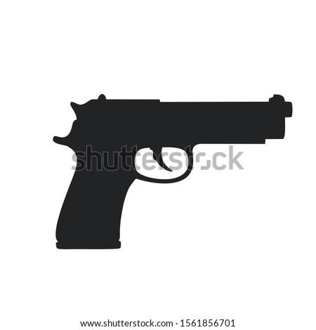 Vector Icon gun sign. Image gun silhouette. Illustration gun sign in flat style