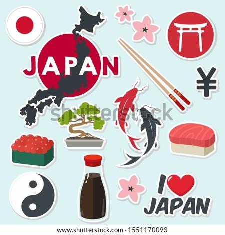 Vector icon Japan sticker. Image Japan sign symbols: flag, map, sushi, carp koi fish, sakura, yen. Illustration cartoon Asia Japan stickers in flat style
