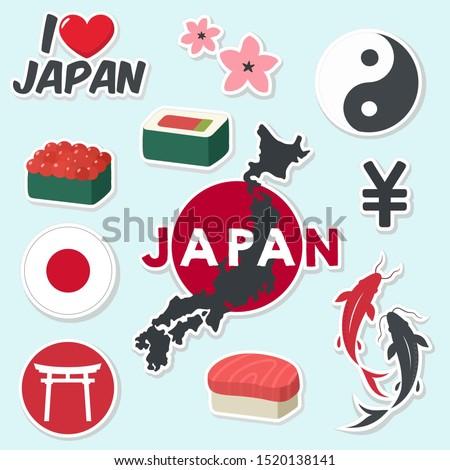 vector icon Japan sticker. Image Japan sign symbols: flag, map, yin yang, sushi, carp koi fish, sakura, yen. Illustration cartoon Asia Japan stickers in flat style