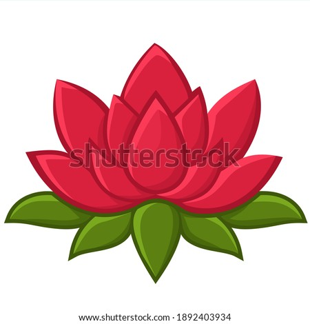 Vector Icon lotus flower. Illustration pink lotus flower sign symbol