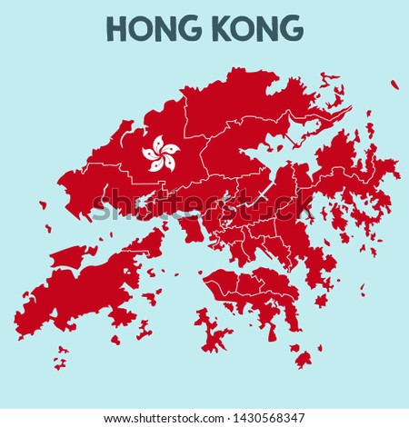 Vector icon map flag of Hong Kong. Image Chinese flag map Hong Kong. Illustration of Hong Kong map in flat minimalism style.