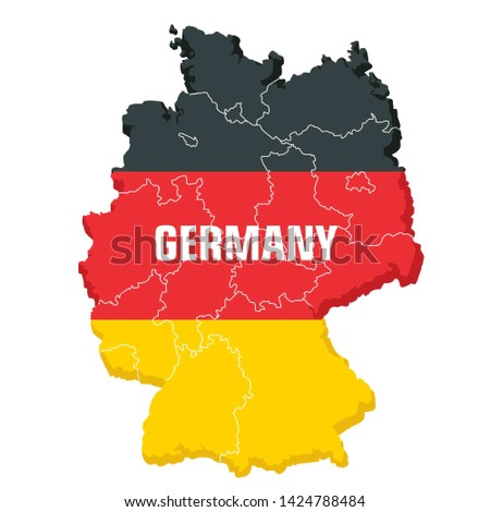 Vector icon map of Germany territory textured under the flag. Background outline map of Germany with the outlines of areas in the colors of the flag. Illustration map flag of Germany in flat style