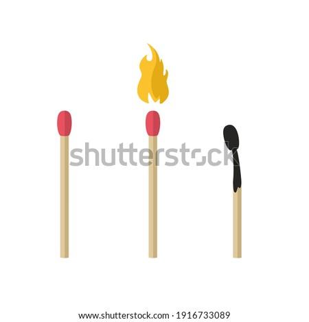 vector icon match set. Image match, fire match, burnt match Foto d'archivio ©
