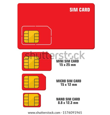 Vector icon mobile chip sim card types. Image mobile sim card  cpu chip processor. Illustration electronic chip in flat style