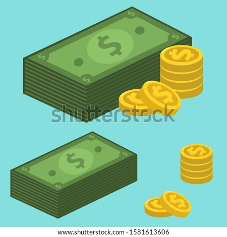 vector icon money dollars. Image dollar bills and dollar coins. Illustration dollars money in flat style