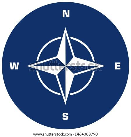 Vector icon NATO sign. Illustration NATO symbol Compass wind-rose illustration in flat minimalism style.