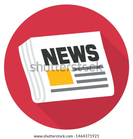 Vector Icon newspaper. Newspaper Folded in two, newspaper on red background, text: News. Illustration press news paper in flat style