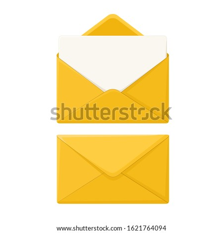 vector icon of an envelope with letter. Image open and close Yellow postal envelope. Illustration envelope letter in a flat