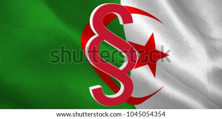 Vector icon of section symbol against digitally generated algerian national flag #1045054354