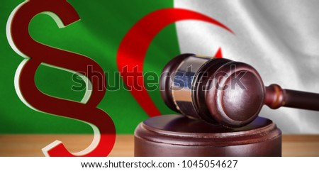 Vector icon of section symbol against digitally generated algerian national flag #1045054627