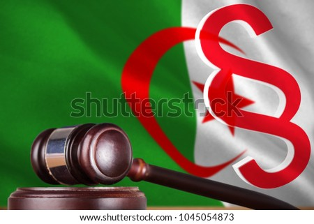 Vector icon of section symbol against digitally generated algerian national flag #1045054873