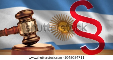 Vector icon of section symbol against digitally generated argentinian national flag #1045054711