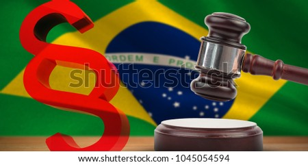Vector icon of section symbol against digitally generated brazil national flag #1045054594