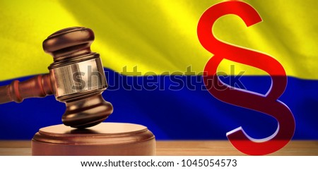 Vector icon of section symbol against digitally generated colombia national flag #1045054573