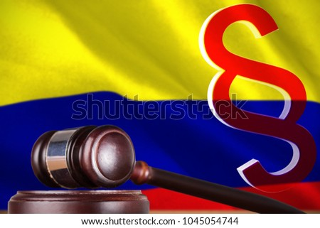 Vector icon of section symbol against digitally generated colombia national flag #1045054744