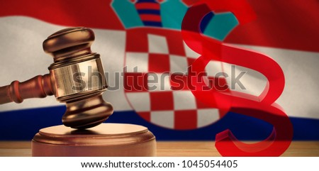 Vector icon of section symbol against digitally generated croatian national flag #1045054405