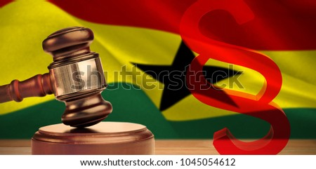 Vector icon of section symbol against digitally generated ghana national flag #1045054612