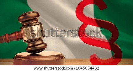Vector icon of section symbol against digitally generated nigerian national flag #1045054432