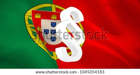 Vector icon of section symbol against digitally generated Portuguese national flag #1045054183