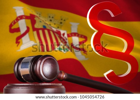 Vector icon of section symbol against digitally generated spanish national flag #1045054726