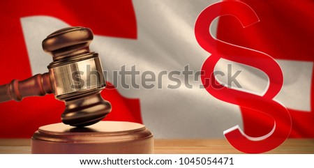 Vector icon of section symbol against digitally generated swiss national flag #1045054471