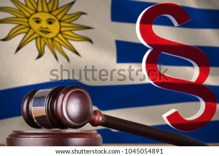 Vector icon of section symbol against digitally generated uruguay national flag #1045054891