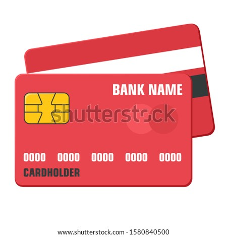 Vector icon red banking card. Image banking card set. Illustration electronic chip in flat style