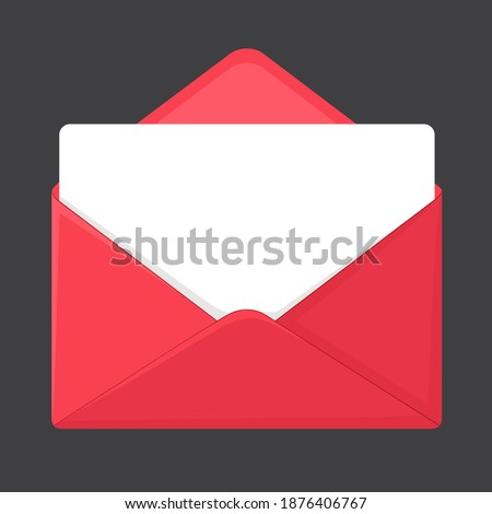 Vector Icon red envelop. Image red open envelop with letter