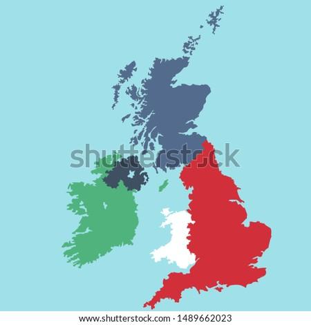 Vector Icon regions map United Kingdom. Image map of Great Britain England, Scotland, Ireland,  wales and northern Ireland. Great Britain map in flat style